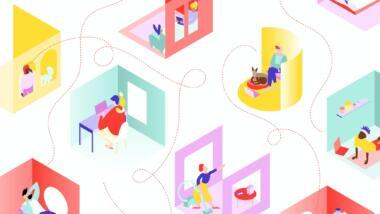 Grafik mit verbundenen bunten Zimmern mit Menschen darin