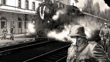Gezeichneter Comic aus dem Spiel Attentat 1942, ein Zug im Bahnhof und Soldaten.