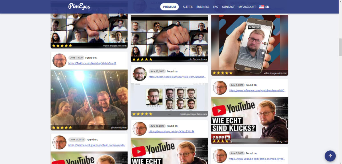 The author's PimEyes search results: The search engine even recognized YouTube thumbnails and a snapshot published on Twitter