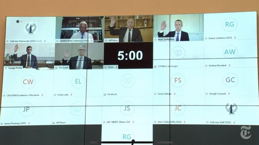 Anhörung von Jeff Bezos (Amazon), Tim Cook (Apple), Sundar Pichai (Google), Mark Zuckerberg (Facebook) vor dem US-Repräsentantenhaus