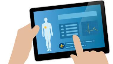 Eine Hand bedient ein Tablet, auf dem Gesundheitsdaten zu sehen sind.