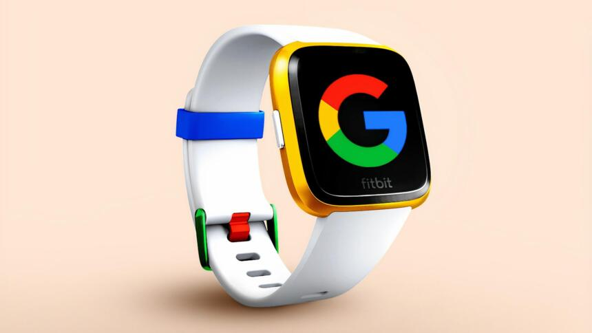 Eine Fitbit-Smartwatch zeigt das Google-Logo.