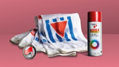 Ein Antifa-Button, eine Fahne und eine Spraydose
