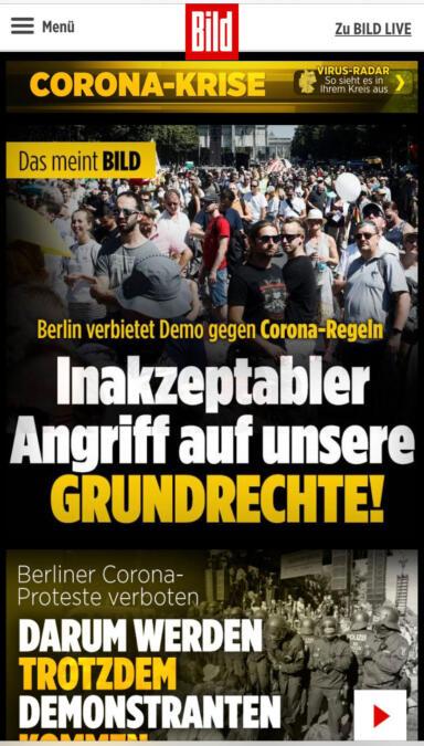 Prominenter Aufmacher bei Bild.de am 26. August.
