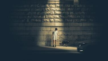 Mensch im Lichtkegel einer Laterne hält einen Hund an der kurzen Leine