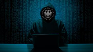 Hackersymbolbild mit BND-Logo