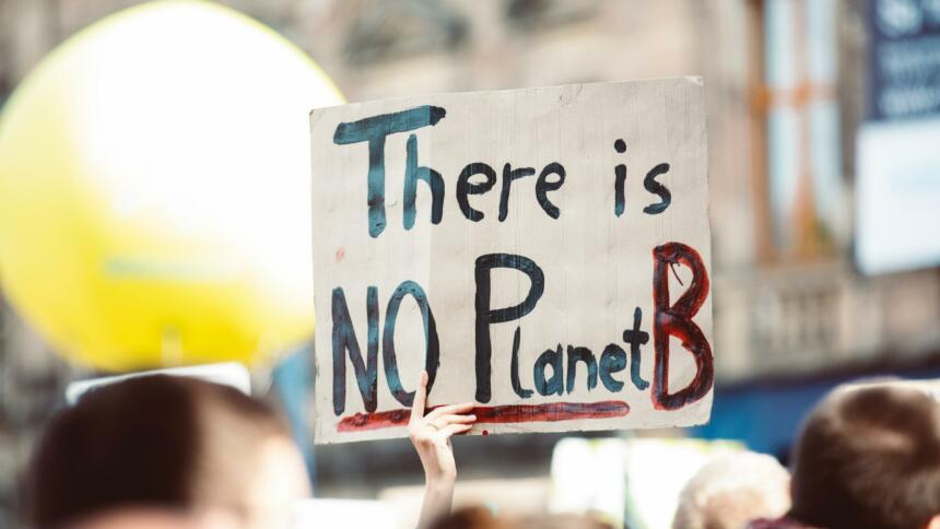 Schild mit der Aufschrift: There is no planet B