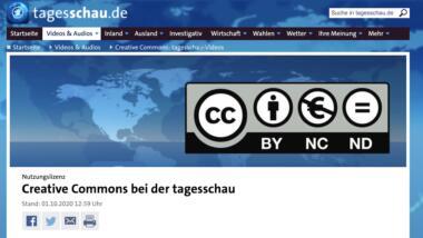 Screenshot Tagesschau und CC-Lizenzen