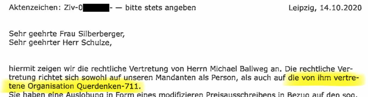 Anwaltsschreiben von Ralf Ludwig an den Goldenen Aluhut