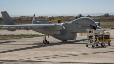 """Die """"Heron 1"""" im Frontex-Einsatz. Sie wird auch von der Bundeswehr geflogen."""