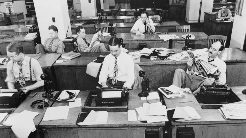 Foto der New-York-Times-Redaktion in den 40er-Jahren