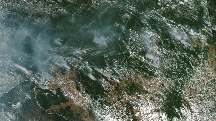 Satellitenaufnahme der brasilianischen Waldbrandherde
