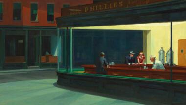 Dieses Gemälde zeigt Menschen in einer Bar.