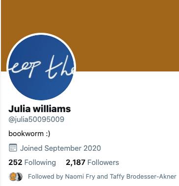 Screenshot des Twitter-Accounts mit dem Handle @julia50095009
