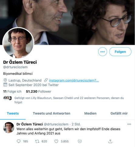 Ein unechter Twitter-Account von Dr. Özlem Türeci.