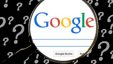 Lupe auf der Startseite der Google-Suchmaschine.