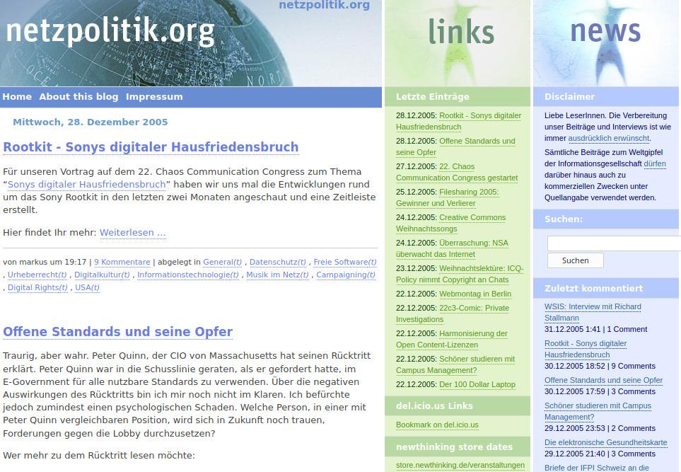 So sah netzpolitik.org im Jahr 2005 aus.