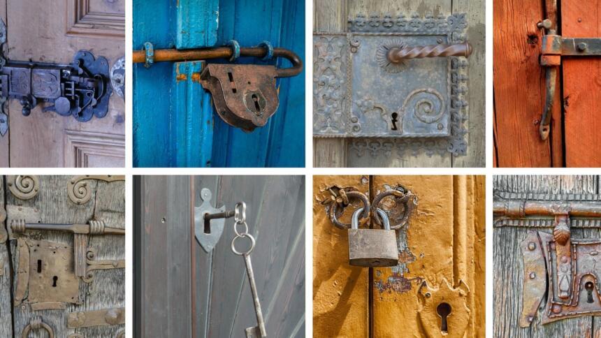 Verschiedene Türschlösser und Schlüssel in einer bunten Collage