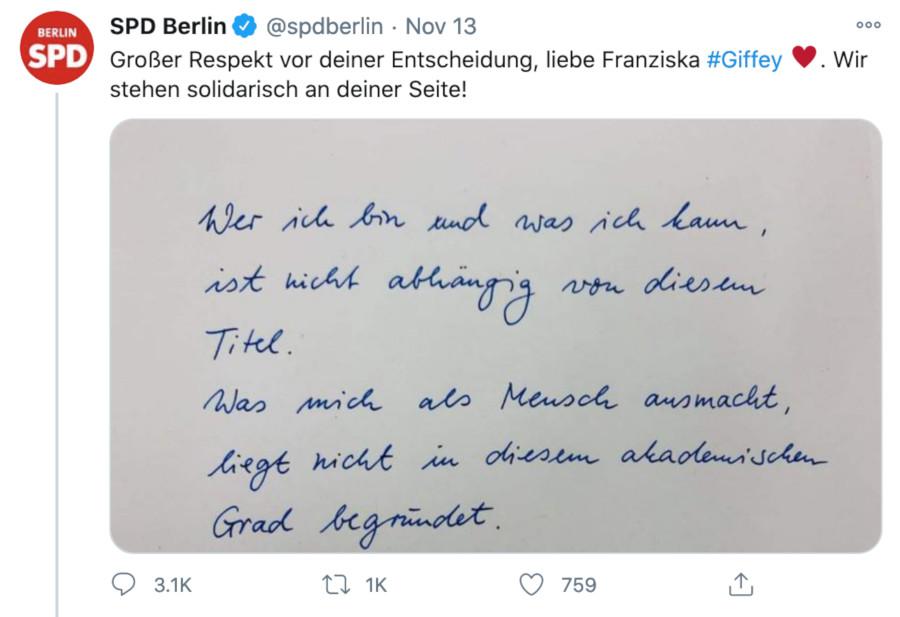 tweet spd berlin zu giffey