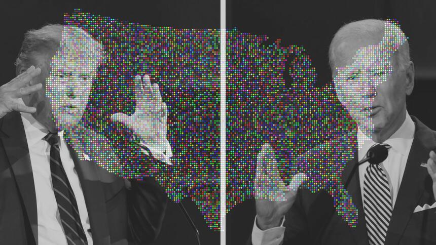 Trump und Biden mit USA-Karten-Overlay