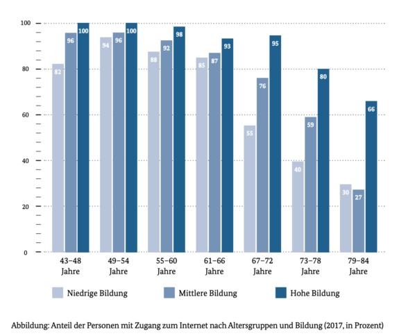Grafik mit Statistiken zu Internetzugang nach Alter