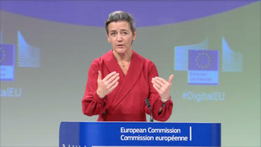 Margrethe Vestager bei der Pressekonferenz