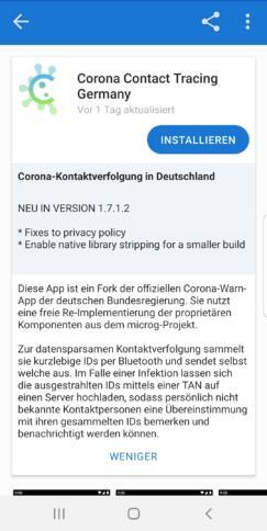 Ein Screenshot der Corona-Warn-App im F-Droid.