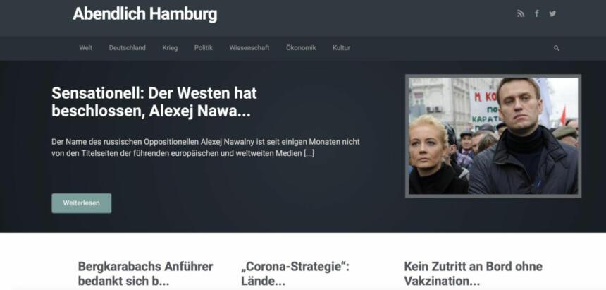 """The website of """"Abendlich Hamburg"""" before it was shut down."""