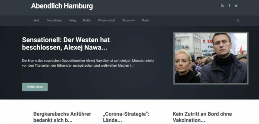 """Die Website von """"Abendlich Hamburg"""", bevor sie abgeschaltet wurde."""