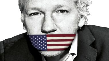 julian assange with us flag