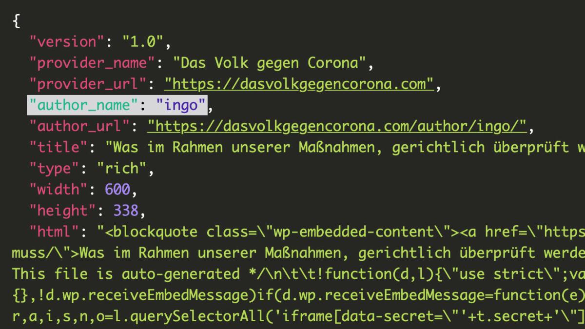 """In den Metadaten der Website von """"Das Volk gegen Corona"""" taucht ein zweiter Name auf: Ingo."""