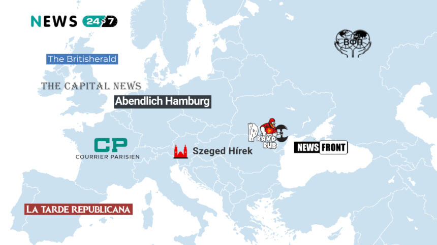 "The network: ""24-7 News"" as an international portal, ""Britisherald"" and ""The Capital News"" in the UK, ""La tarde republicana"" in Spain, ""Courrier Parisien"" in France, ""Abendlich Hamburg"" in Germany, ""Szeged Hírek"" in Hungary, ""Pravdorub"" in Moldova, ""Infoprof"" in Russia. There are close ties to ""News Front"" in Crimea."