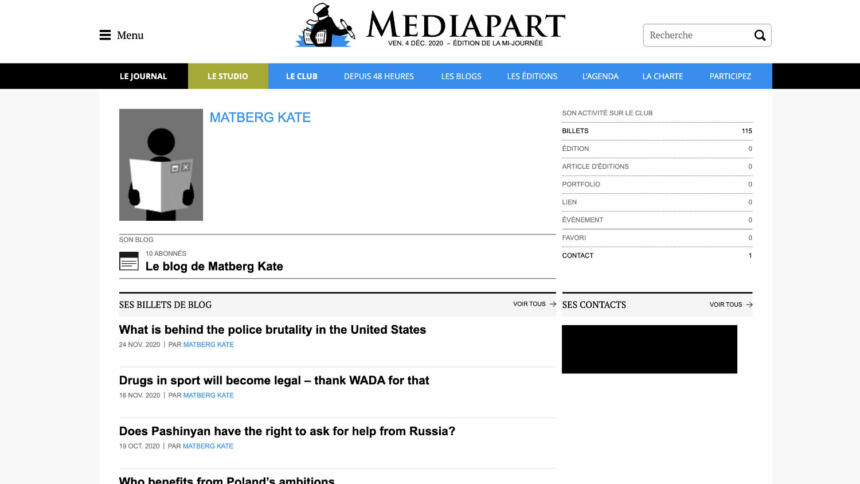 """Kate Matbergs Blog auf der Website der französischen Nachrichtenwebsite """"Mediapart"""""""