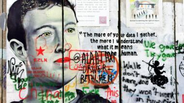 Graffiti mit Mark Zuckerberg als Motiv