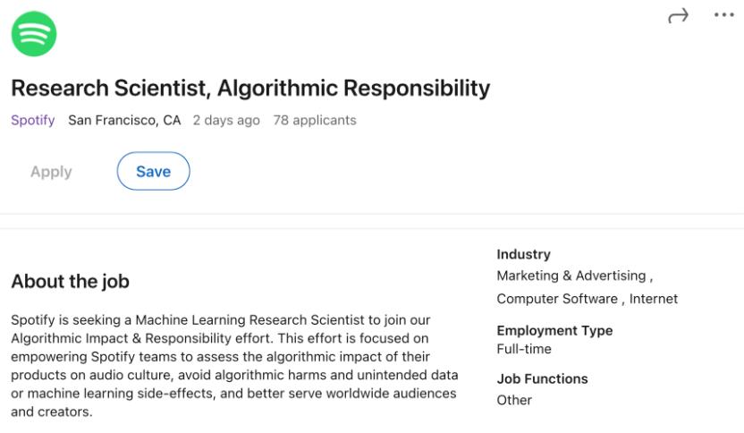 Ein Screenshot eines Jobangebots von Spotify auf LinkedIn