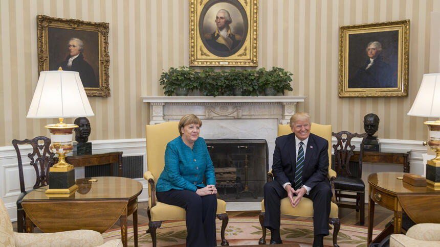 President Donald Trump meets with German Chancellor Angela Merkel in the Oval Office, Friday, March 17, 2017. (Official White House Photo by Shealah Craighead)
