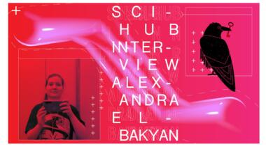 A collage consisting of a selfie in front of a mirror of Sci-Hub founder Alexandra Elbakayan and a raven holding a key in its beak, the portal's logo.