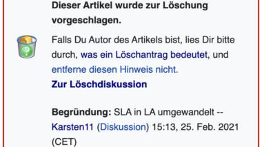 Screenshot einer Einblendung eines Wikipedia-Löschantrags