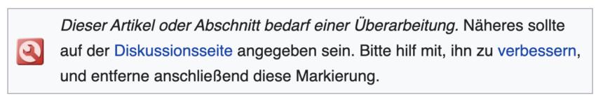 Screenshot: Hinweis auf Verbesserungsbedarf bei einem Wikipedia-Artikel