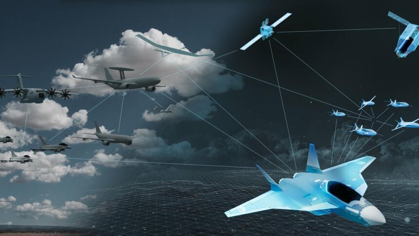 """Das neue Kampfflugzeug der """"sechsten Generation"""" ist mit zahlreichen anderen Waffensystemen vernetzt. Das Gesamtsystem verfügt über einen hohen Autonomiegrad."""