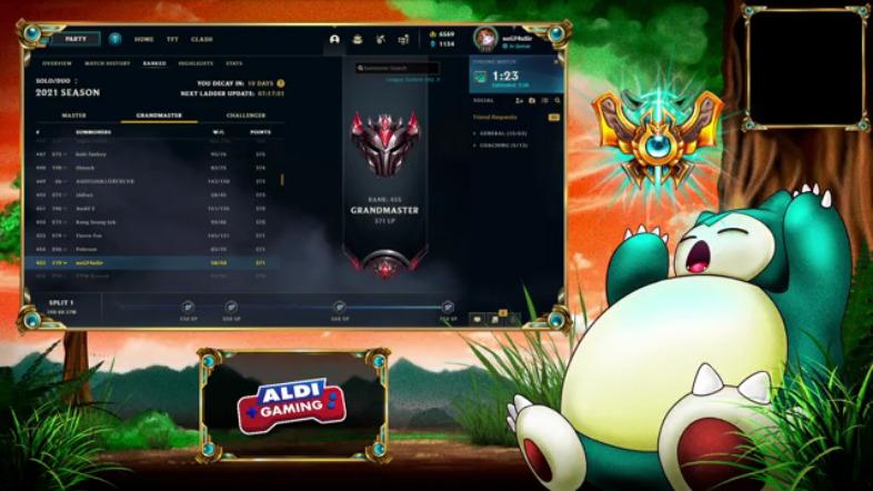 Screenshot League of Legends mit Aldi-Gaming-Logo