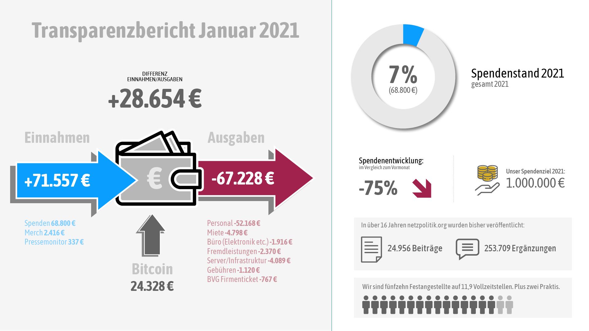 Unsere Einnahmen und Ausgaben im Januar 2021