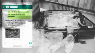 Fotomontage Drogenkoffer, im Vordergrund Chatverlauf mit Unterhaltung über Waffen und Munition