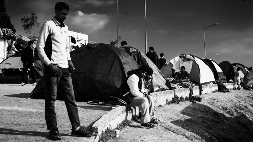 Flüchtende in Moria, 2016
