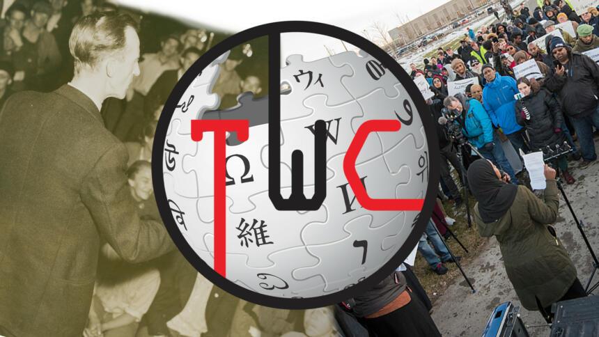 Collage aus Bildern von Gewerkschaften, dem Logo von Wikipedia und der Tech Workers Coalition