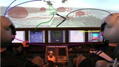 Führung unbemannter Fluggeräte aus dem Hubschrauber-Cockpit.
