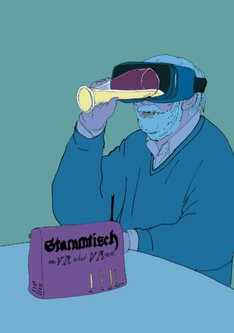 Esst der freundliche Herr, der das Bier durch die VR-Brille zu sich nimmt.