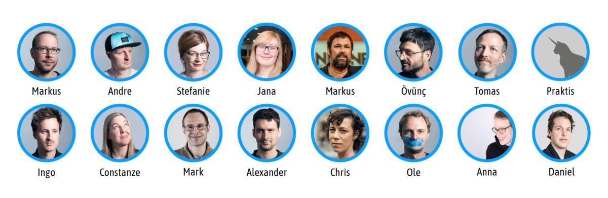 Auf dem Bild sind unsere Redaktionmitglieder:innen abgebildet. (Markus, Andre, Stefanie, Jana, Markus, Övünç, Tomas, Ingo, Constanze, Mark, Alex, Chris, ole, Anna, Daniel)