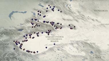 Karte mit Internierungslager in der chinesischen Region Xinjiang