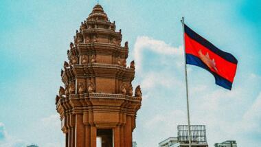 Kambodschanische Flagge in Phnom Penh